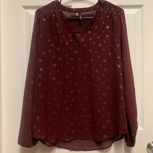 Maurices Sheer Maroon Blouse M